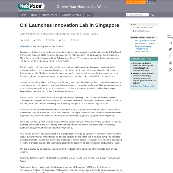 Citi Launches Innovation Lab in Singapore