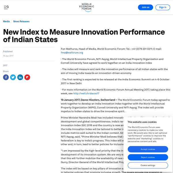 New Index to Measure Innovation Performance of Indian States