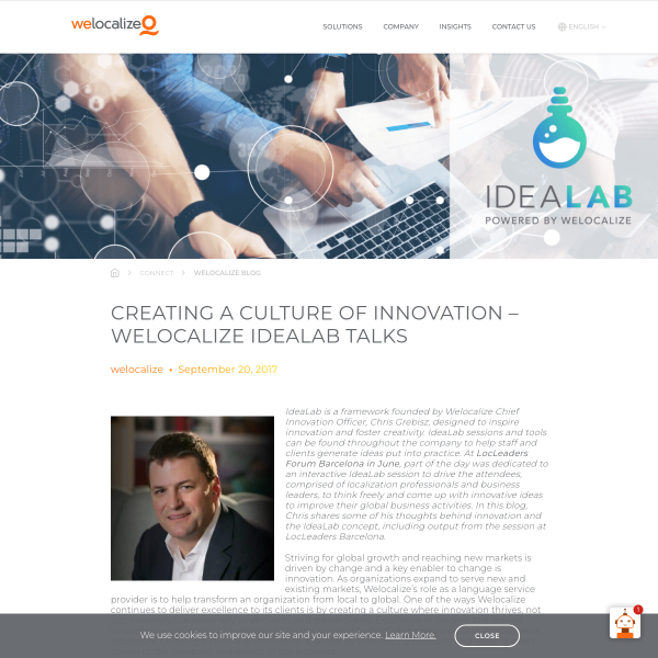 Creating a Culture of Innovation Welocalize IdeaLab Talks