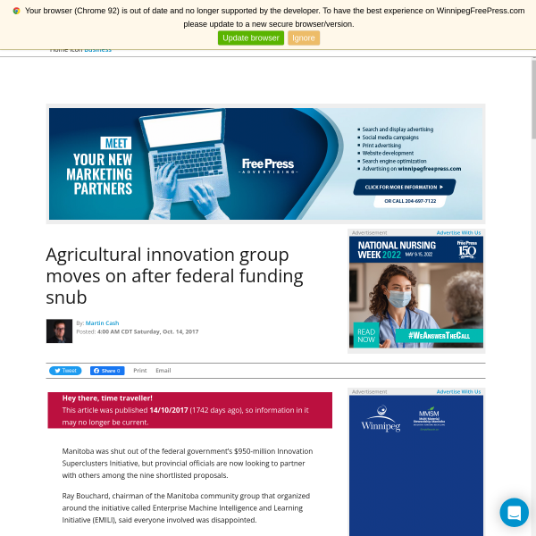 Agricultural innovation group moves on after federal funding snub