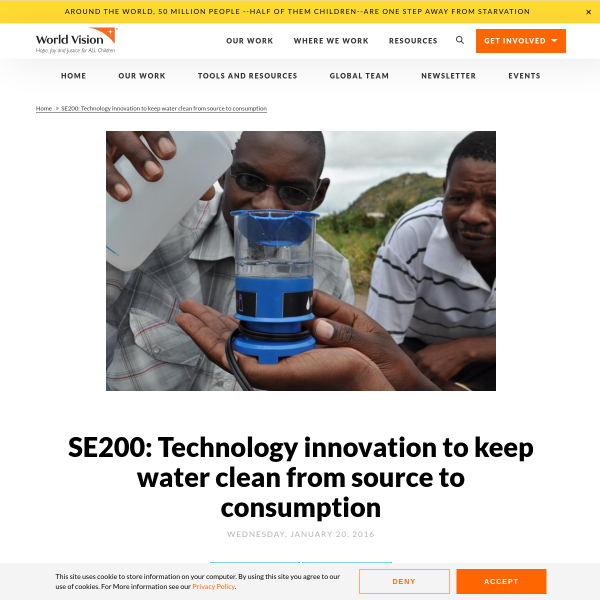 SE200: Technology innovation to keep water clean from source to consumption