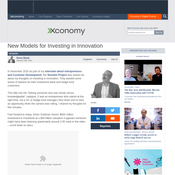 Xconomy: New Models for Investing in Innovation