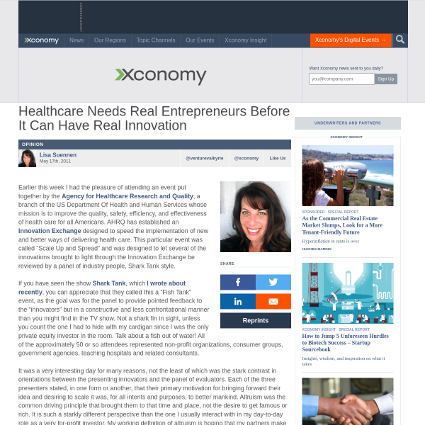 Xconomy: Healthcare Needs Real Entrepreneurs Before It Can Have Real Innovation