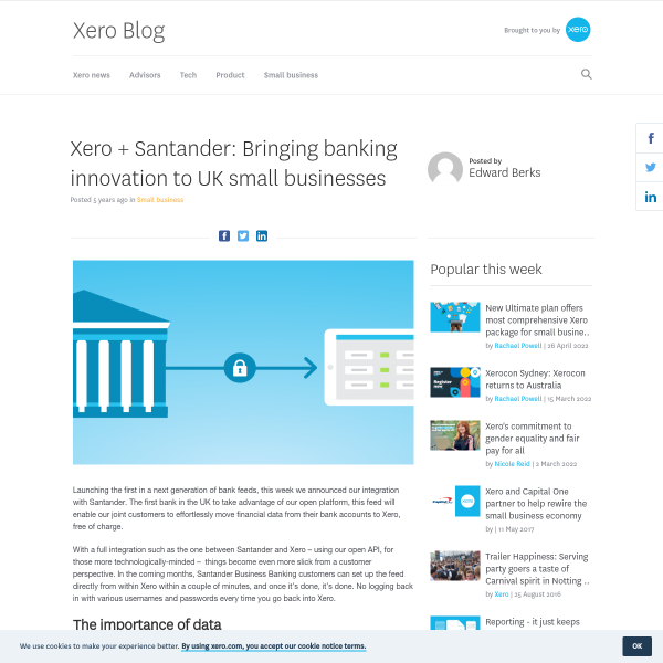Xero + Santander: Bringing banking innovation to UK small businesses - Xero Blog