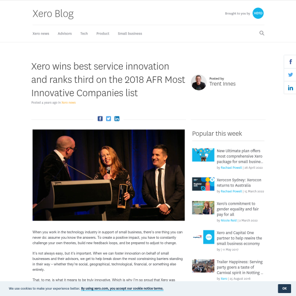 Xero wins best service innovation and ranks third on the 2018 AFR Most Innovative Companies list - Xero Blog
