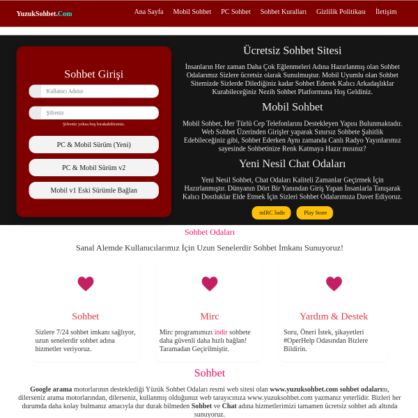 YuzukSohbet.Com – Sohbet, Chat, Bedava Sohbet Odaları