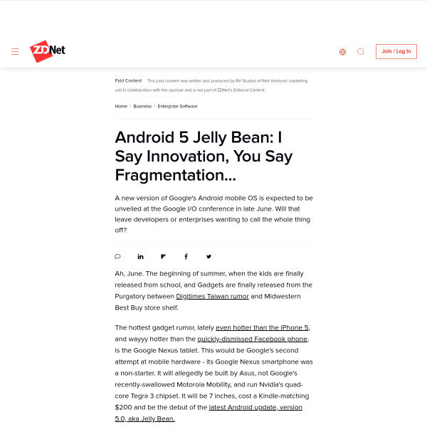 Android 5 Jelly Bean: I Say Innovation, You Say Fragmentation... - ZDNet
