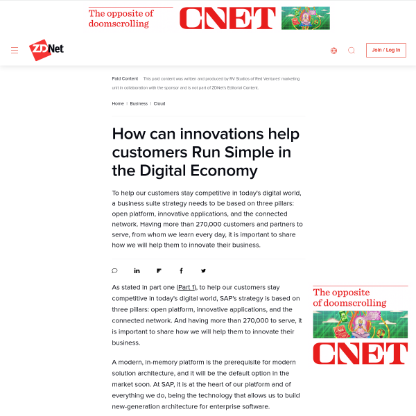 How can innovations help customers Run Simple in the Digital Economy - ZDNet