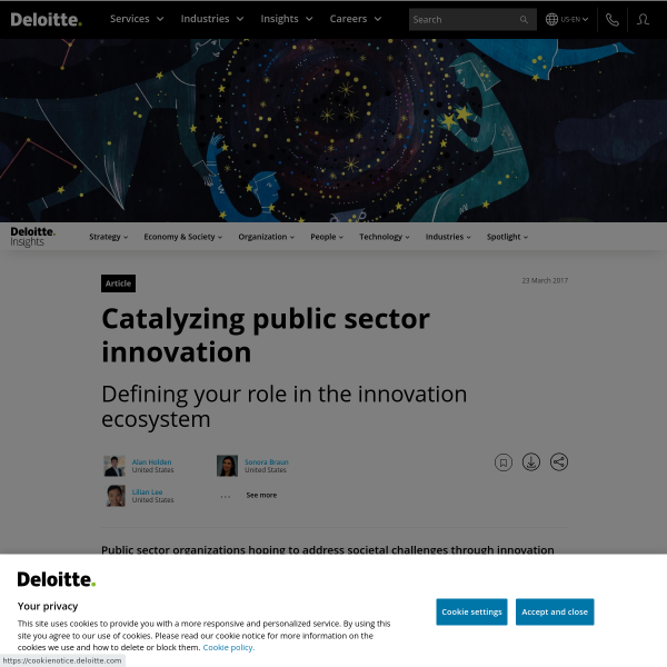 Catalyzing public sector innovation