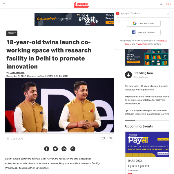 18-year-old twins launch co-working space with research facility in Delhi to promote innovation