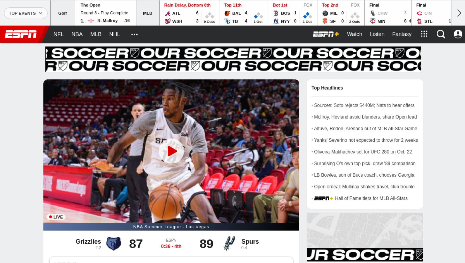 Screenshot of espn.com on desktop