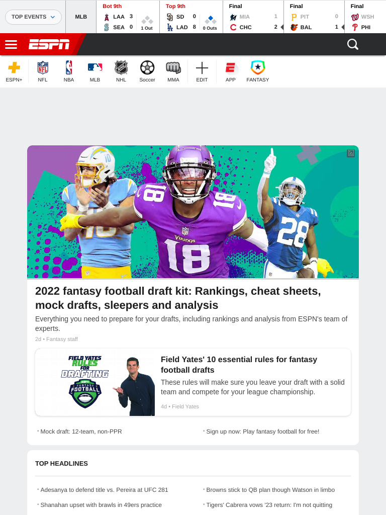 Screenshot of espn.com on a tablet