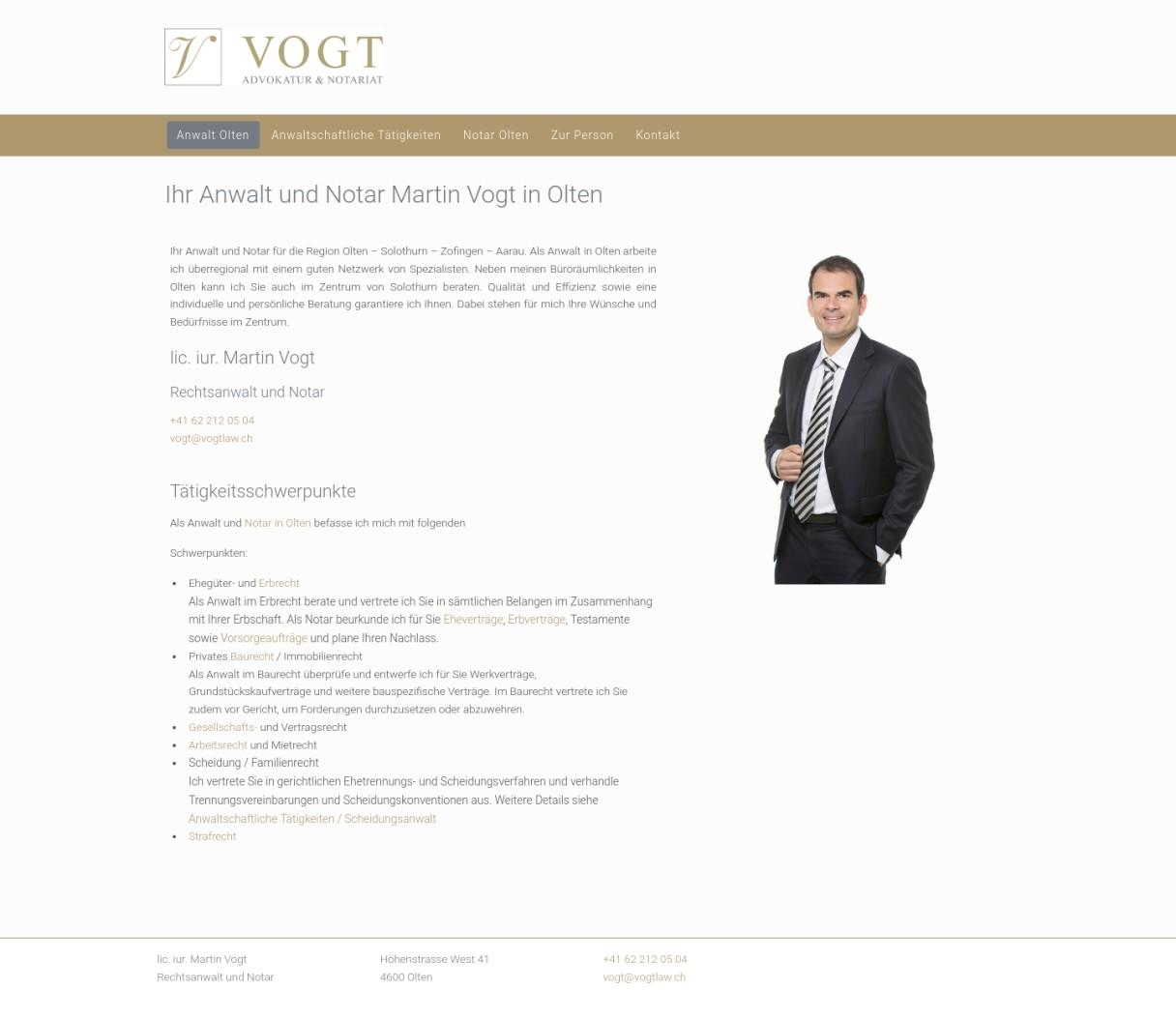 Anwalt Olten - VOGT Advokatur und Notariat
