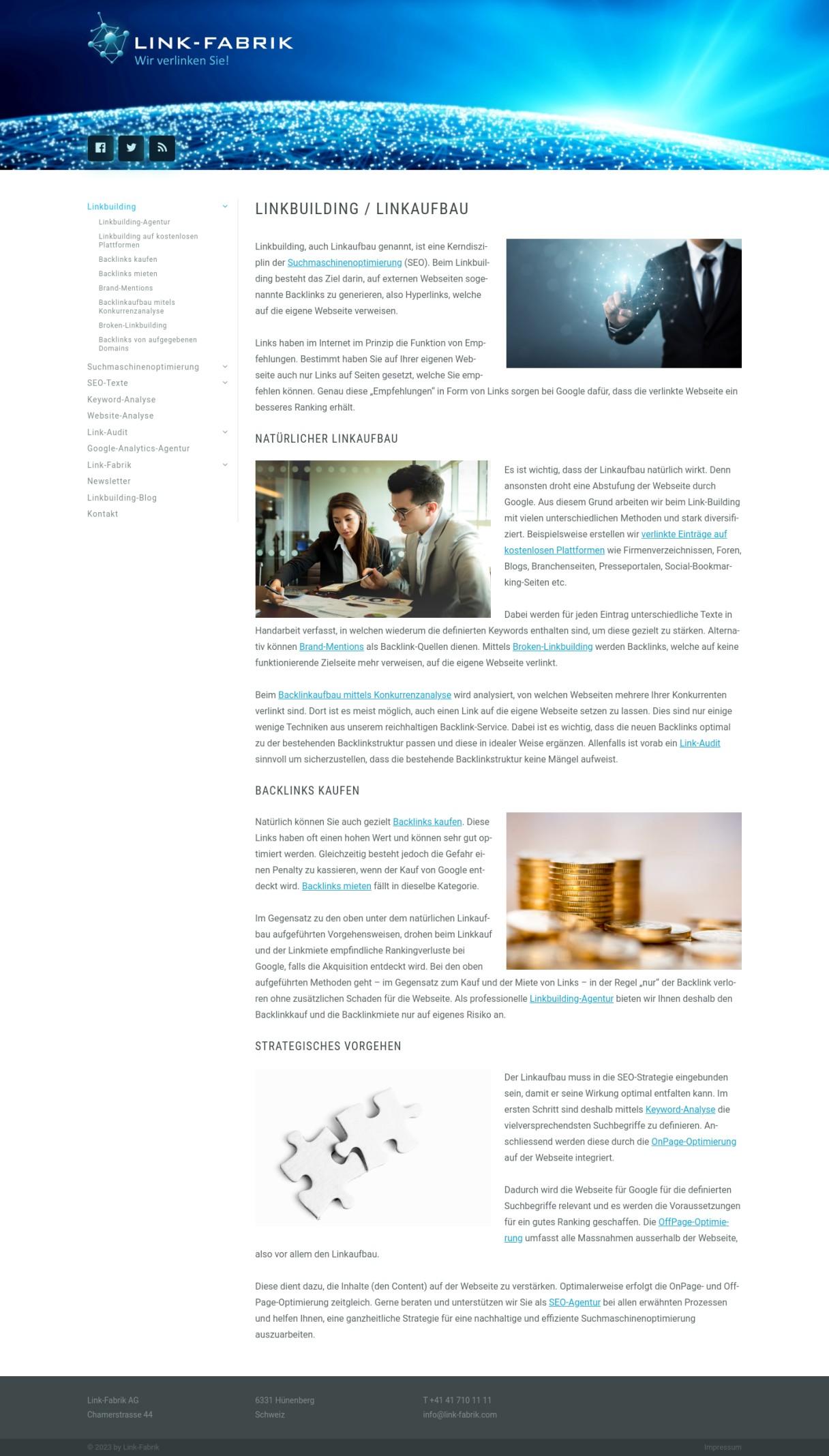 Linkbuilding Agentur - Link-Fabrik AG