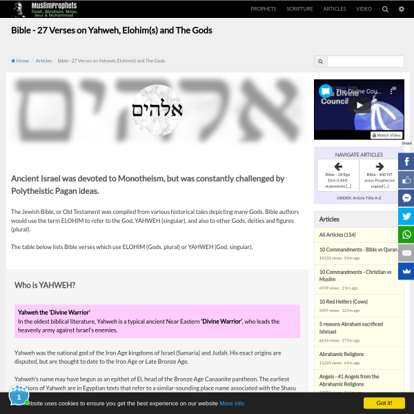 Bible - 27 Verses on Yahweh, Elohim(s) and The Gods