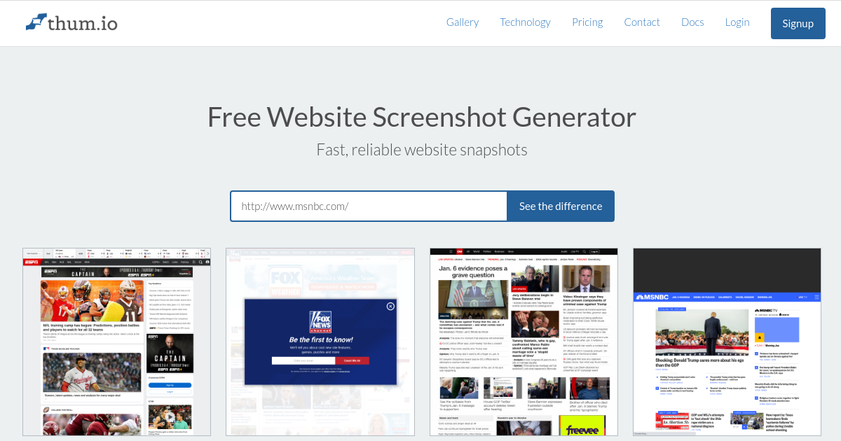 Thum io   Using screenshots for Facebook and Twitter share