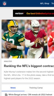 Screenshot of nfl.com with iframe