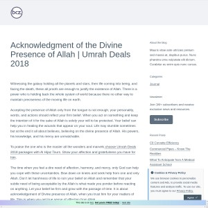 Acknowledgment of the Divine Presence of Allah | Umrah Deals 2018