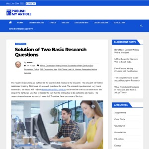 Solution of Two Basic Research Questions – Publish My Article