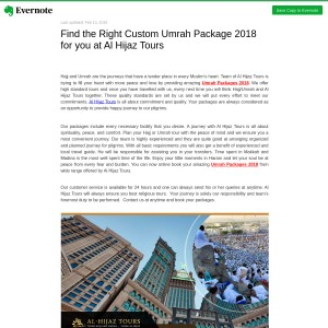 Find the Right Custom Umrah Package 2018 for you at Al Hijaz Tours