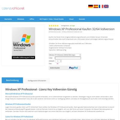 izenzschlüssel Key für Microsoft Windows XP Vollversion Kaufen